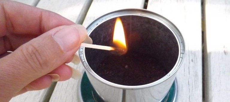 coffee grind candle to repel insects